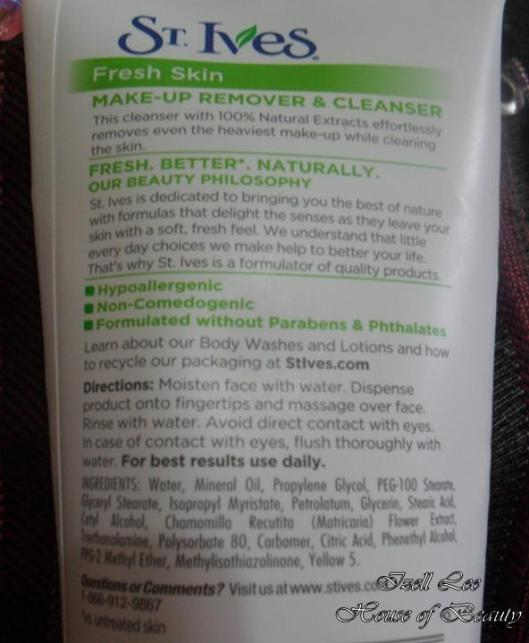 st ives fresh skin makeup remover and cleanser- izell lee